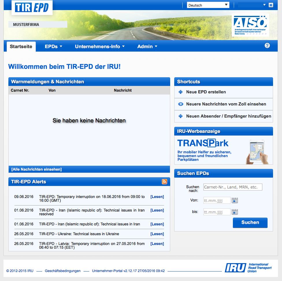 TIR EPD Userbereich